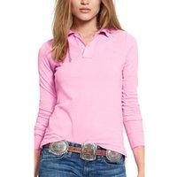Alta qualità Autunno New Lady Manica lunga Manica Pure Color Polos Camicie Casual Donne Risvolze Polioshirts Cotton Women FFashion Slim Tops