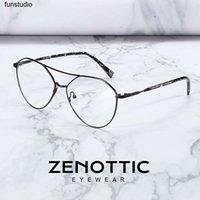 Zenottic Marca Designer Metal Piloto Piloto Quadro Homens Óptica Miopia Prescrição Óculos Óculos de Goggle Liga Dupla Ponte Óculos