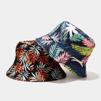Oloey Pamuk Palmiye Bırakır Baskılı Kadın Kova Şapka Sonbahar Moda Geniş Brim Harajuku Şapka Güneş Kapaklar Casual Bayanlar Balıkçılık