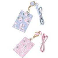 Porta carte Carino FlowersPu Pelle Pelle ID ID Cassa Portatile Badge Strappa per scollo retrattile Cinturino