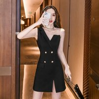 Casual Dresses French Show Thin Accept Waist With Shoulder-straps Temperament Cultivate Morality Sexy Hip Little Black Dress