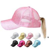 NewPonytail 모자 형광 스팽글 안티 땀 통기성 메쉬 호의 모자 조정 가능한 안티 UV 모자 스포츠 야구 모자 EWC7556