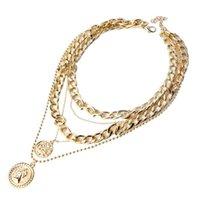 Pendant Necklaces Gift Fashion Jewelry Portrait Clavicle Men Women Decorative Case Vintage Multi-layer Coin Chain Choker Necklace Chunky