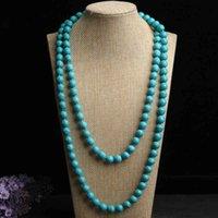 Cadena de suéter de color turquesa Cadena de cadena de bola collar joyería de mujer