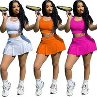 Women designer Two Piece Dress summer clothing sexy club elegant print letter t-shirt skirt sweatsuit pullover crop top pleated outfits vest bodycon bodysuits 03577