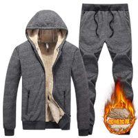 Chndal de Cachemira de cordero para hombre, Sudadera con capucha + Pantalones para hombre, chndal grueso lana con capucha,
