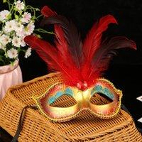 Kadın Kızlar Renkli Boyama Tüy Prenses Top Maskesi Masquerade Mardi Gras Doğum Günü Partisi Karnaval Sahne