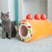 Cat Dog House Bed Mat Pet Cushion Kennel Pets Plush Mat Winter Warm Chew Toys Small Pet Bed Fruit Tart Nest