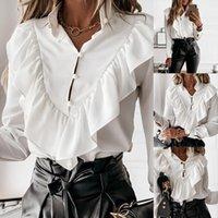 Eleganter V-Ausschnitt Rüschen DOF Womens Hemden Drucken Langarmbüro Pullover Hemd Kleidung ROPA MUJER