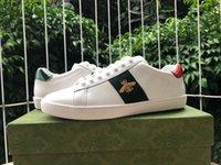 مصمم مطرز الأبيض النمر النحل أحذية ثعبان جلد طبيعي حذاء رياضة منصة رجل المرأة الآس عارضة Size35-49