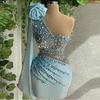 Light Sky Blue Short Cocktail Dresses Sexy Sequined Beaded One Shoulder Long Sleeve Prom Gowns Custom Made Evening Dress