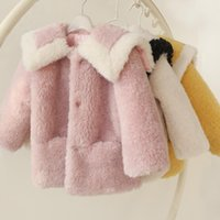 Jackets 2021 Winter Fashion Children Faux Sheep Shearling Coat Kids Girl Thick Casual Warm Jacket Teen Fake Fur Outerwear G75