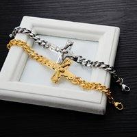 2021 Bracelet croix Hommes Bangliers bijoux argent / or couleur 21cm inri crucifix Jésus pièce Cuban Link Chaîne Chaîne Bangles Pères Jour Cadeaux