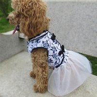 Dog Apparel Pet Clothes Blue White Porcelain Princess Dress Cat Lace Cute Print Loli