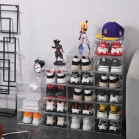 كامل واضح البلاستيك الأحذية مربع درج نوع فليب حذاء تخزين مربع تكويم الأحذية مجلس الوزراء المنظم حذاء رياضة جامع تخزين صناديق C0318