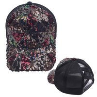 Sequins Ponytail Baseball Hat Party Criss Cross Washed Ball Caps Fashion High Messy Festive Hats Supplies 5styles NHD6270