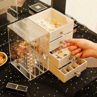 Lade Type Sieraden Oorbel Display Rack Plank Plastic StorageBox Transparante Cosmetische Opbergdoos Ketting Braceletbox H0902