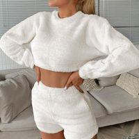 Kadınlar Güz Kış Moda Sıcak Polar Giyim Setleri Uzun Kollu O-Boyun Kırpma Üst + Şort Lady Rahat Katı Loungewear Pijama kadın Trac
