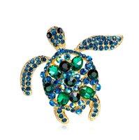 녹색 모조 다이아몬드 바다 거북이 브로치 여성 남성 크리스탈 거북이 동물 코사지 파티 원인 브로치 핀 선물