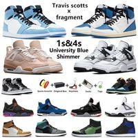 Air Jordan 1 retro 4 Jumpman 4 Shimmer DIY Travis scott x fragmento 1 tênis basquete masculino University blue Hyper Royal 1s Oreo 4s Taupe Haze Desert Moss homens esportivos box