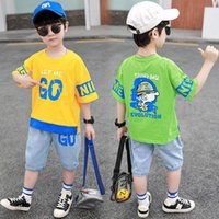 Kids Clothing Sets Boy Suit Boys Outfits Child Clothes Summer Cotton Short Sleeve Letter T-shirts Pants Shorts Jeans Casual 2Pcs 3-8Y B5180
