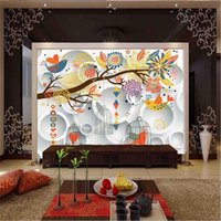 Wallpapers 3D Living Room Wall Stickers Simple Cartoon Po Murals Cute Birdcage Kids Papers Colored Circle For Bedroom
