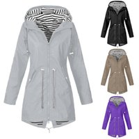 Women's Trench Coats Fashion Women Rain Jacket Outdoor Waterproof Hooded Raincoat Windproof Plus Size