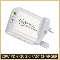 Dual Ports Power USB-C Charger Adapter 20W PD QC 3.0 Quick Charging EU US UK AU Plug Type-C Fast Safe Chargers