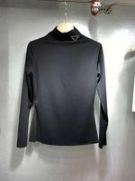 Kadın Hoodie Gömlek Mektup Budge Ile Yüksek Boyunlar Tees Nefes Tişörtü Bahar Sonbahar Dış Giyim Hoodies