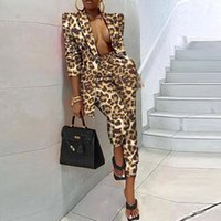 Kadın İki Parçalı Pantolon Moda Turn-down Yaka Uzun Kollu 2 Set Sonbahar Ofis Lady Kadınlar Kıyafet Zarif Desen Baskı Blazer Tops +