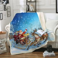 Thickened Double Layer Coral Fleece Blanket Christmas Series 3D Digital Printing Blanket for Winter Bedding Couch Throw Sofa Bedspread