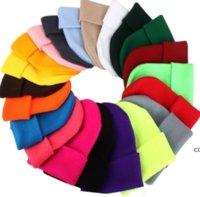 Solid Unisex Beanie Autumn Winter Wool Blends Soft Warm Knitted Cap Men Women SkullCap Hats Caps 23 Colors Beanies DHA9478