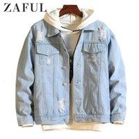 Zaful jean chaquetas abrigos hombres desmontable destruir la ropa exterior de lavado 2020 invierno cadera hombres moda moda bomber rompió la chaqueta de mezclilla