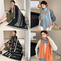 Fashion Alphabet Style Scarves Classical Letters Slouchy Warm Long Artificial Pashmina Plain Wide Scarf With Tassels