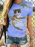 Women's T-Shirt 3D 2021 Cat Floral Print Tie Dye Gradient Tshirt Pullover Casual Short Sleeve O Neck Loose Tee Shirt Oversize