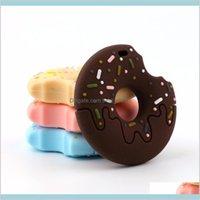 아기 안전 실리콘 Teether 연삭 쿠키 도넛 펜던트 태어난 소년 소녀를위한 씹는 장난감 치과 치과 케어 아이 메이트 DI81M
