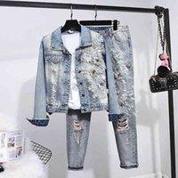 Женские трексуиты Одежда для весенних и падения Джинсы, вышитые цветочными деталями, с длинным рукавом + брюки дыры, две части, COVJ