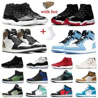 مع صندوق الجوارب 11s Jubilee air jordans 11 حذاء كرة سلة رجالي تويست 1s UNC aj 1 أسود ولدت تو محظورة جامعة زرقاء للرجال والنساء رياضية