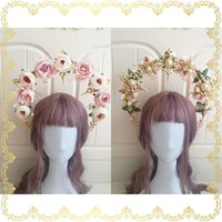 Hair Clips & Barrettes Original Lolita Handwork Virgin Halo Gorgeous Crown Headdress Double Sided Rose Flower Pearl Cross Soft Sister Hai