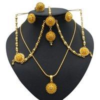 Yulaili Conjuntos de joyas africanos Collar Brazalete Pendientes Pendientes para Mujeres Color Oro Joyería Etiopía