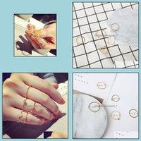 Piedras laterales Anillos de joyería5pcs / set Simple Fashion Wlay Wave Hilo de cinco piezas con un dedo de diamante de cristal Anillo de Knuckle Drop. Entrega 202
