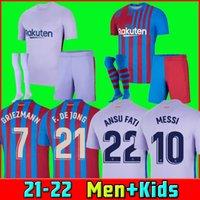 21 22 Barcelona Fußball Jersey Messi Pedri Kun Aguero Barca Camiseta de Futbol 2021 2022 GRIEZMANN F.de Jong Emerson Eric Maillots Football Shirt Männer + Kinder Kit Sets