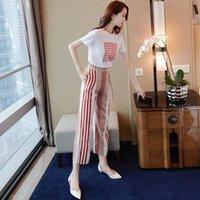 Women's Tracksuits 2021 Summer Elegant Women Sets T Shirt And Stripe Pants Female