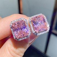Choucong Top Sell Stud Earring Luxury Jewelry 925 Sterling Silver Princess Cut Pink Topaz CZ Diamond Gemstones Eternity Women Wedding Earrings For Lovers Gift