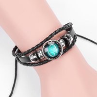 Fashion Jewelry Design Twelve Constellations Leather Bracelets Retro Hand-woven Beads DIY Zodiac Bracelet