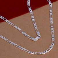 Fashion 4mm Simple Silver Color Three Interval One Flat Link Chain Necklace Gift For Men Women Dress Jewelry Accessories Chains