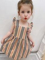 Летние девочки дизайнерские платья платье полосатый бантик рюшат без рукавов детей принцесса платье британский стиль детей цветочный сарафрансфер платье принцессы
