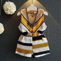 Baby Clothing Sets Girls Outfits Fashion Clothes Kids Dress Summer Chiffon Striped Vest Tops Pants Shorts 2Pcs 2-6Y B5210