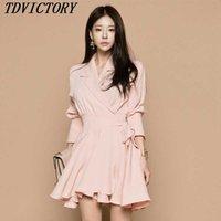 tdvictory 가을 여성 핑크 공 가운 미니 드레스 한국어 패션 긴 소매 활 노치 칼라 캐주얼 슬림 OL 210602