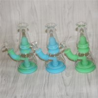 "7.5"" Double filter silicone tobacco water pipe Unbreakable Bong Hookah Silicon Smoking Waterpipes Bongs dab rig"
